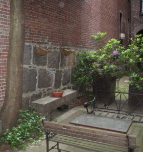 Photograph of a plain-looking courtyard with some plants